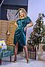 Стильне плаття з запахом з якісного атласу, норма і батал великі розміри, фото 2