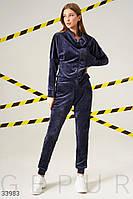Бархатный темно-синий женский спортивный костюм S M L XL 2XL