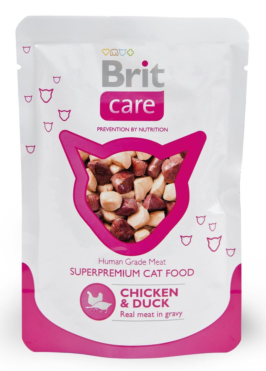 Вологий корм для кішок Brit Care з куркою і качкою 80 г