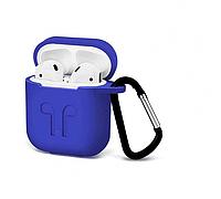 Силиконовый чехол-накладка Apple AirPods с карабином Синий