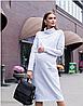Очень теплое платье для беременных и кормящих SOLLY DR-48.203, теплое трехнитка с начесом, серое