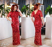Платье женское нарядное вечернее платье на выпускной длинное итальянское кружево+софт батал размер:50,52,54,56