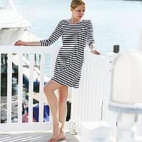 Летнее платье в морском стиле в полоску из мягкой вискозы
