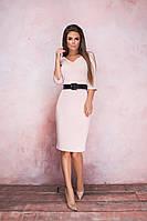 Женское платье приталенное до колен с поясом рукав 3/4 джерси размер: 42, 44, 46, 48-50, 52-54, 56-58