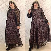 Женское вечернее платье длинное черное креп дайвинг верх сетка с напылением батал размер: 50-52, 52-54, 56-58