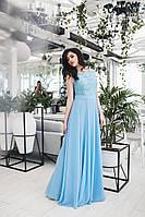 Вечірні шифонова довге літнє плаття з гипюровым верхи і розкльошеною спідницею. Арт-4051/58, фото 1