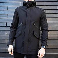 Мужская демисезонная куртка Pobedov Soft Shell «Japan» черная