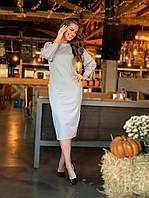 Платье вечернее удлиненное длинный рукав трикотаж на спине вырез декор пуговицы размер:42-44,46-48,50-52,54-56