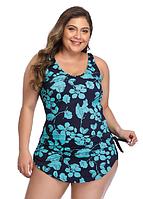 Купальник женский слитный большие размеры имитация юбки 54 - 62 Nella синий с принтом голубой