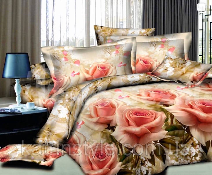 Евро размер бязь постельное белье «Поляна роз»