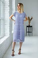 Легка літня ажурна батистова сукня міді гаптована цифровим квітковим принтом лавандового кольору №314-1