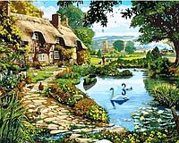"Картина раскраска по номерам ""Коттедж у озера"" на холсте 40Х50 см. Babylon VP144"