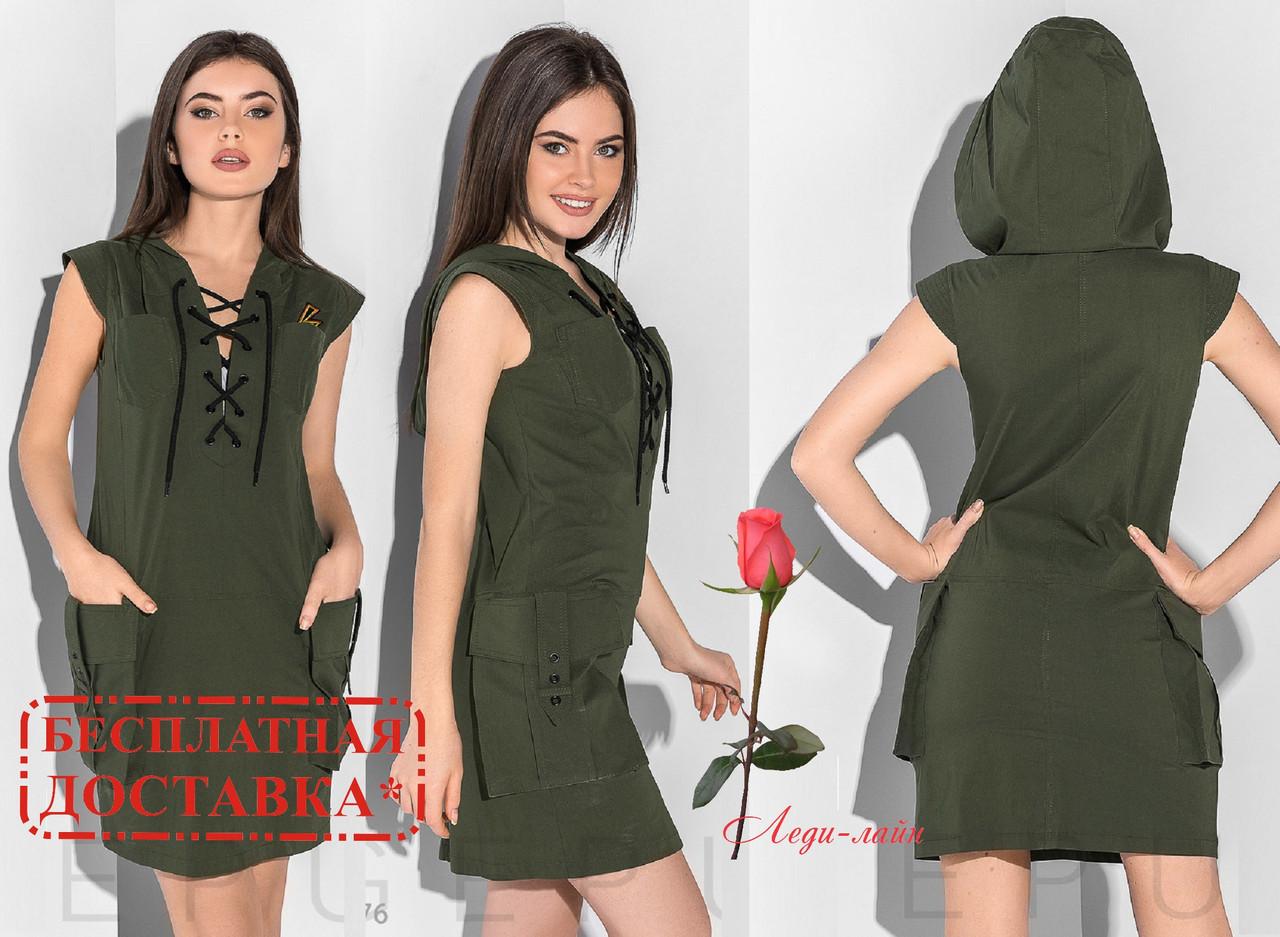 Платье - туника с капюшоном  GR-29976   Хаки