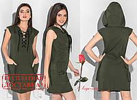 Платье - туника с капюшоном  GR-29976   Хаки, фото 1