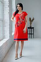 Легка літня червона батистова сукня міді з квітковою вишивкою №360-1