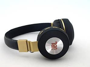 Блютуз JBL V682 Headset копия, Bluetooth наушники (бездротові навушники) с FM MP3, черные с золотом | AG330209, фото 2