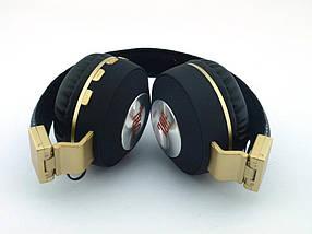 Блютуз JBL V682 Headset копия, Bluetooth наушники (бездротові навушники) с FM MP3, черные с золотом | AG330209, фото 3