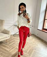 Стильные кожаные леггинсы лосины штаны эко кожа. черный, красный, бежевый, молочный, пудра