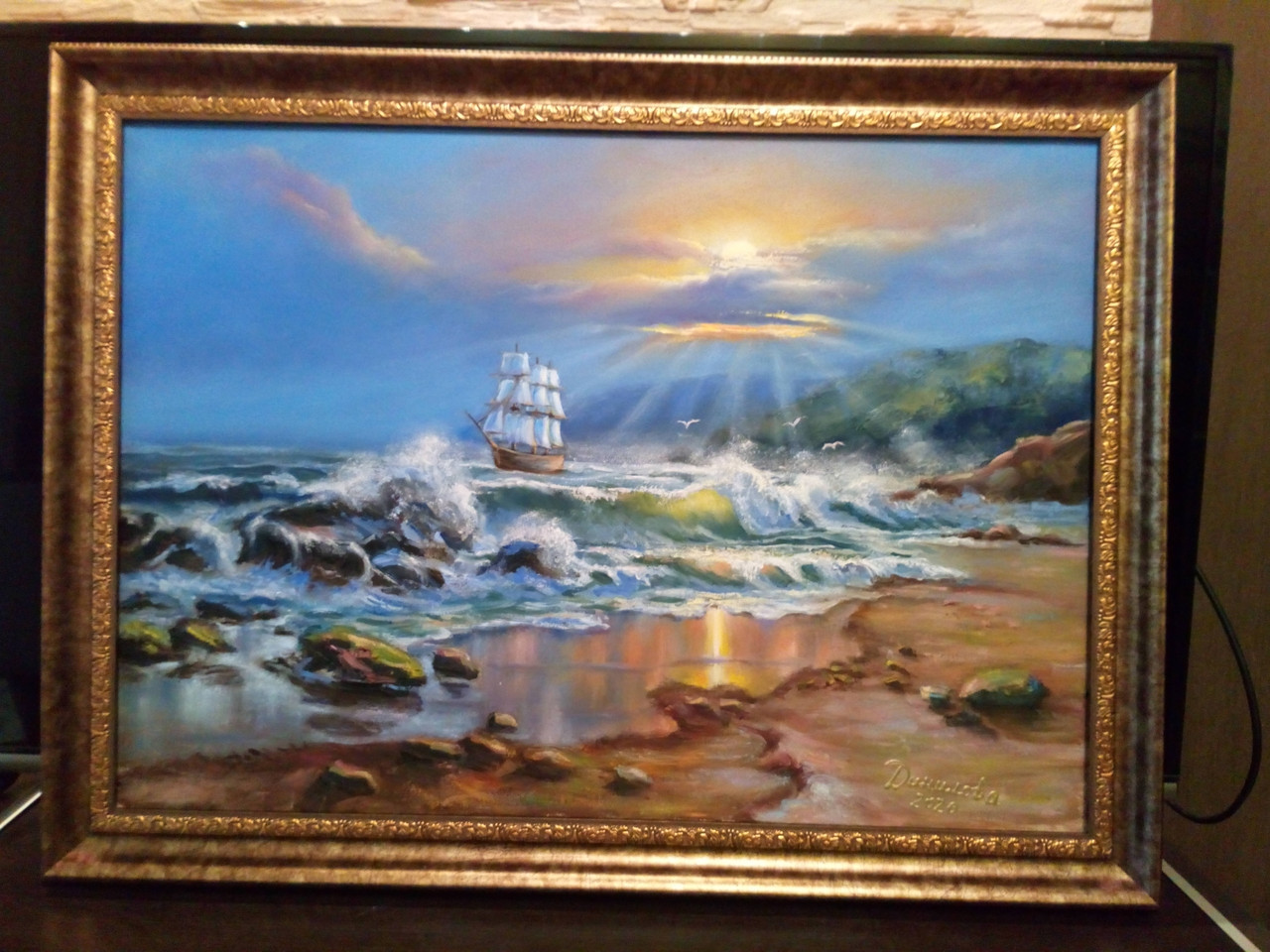 """""""Закат на море"""" - картина маслом"""