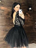 Платье женское стильное красивое с кружевом и пышной фатиновой юбкой мини Smk4065