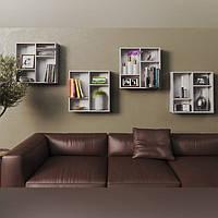 Настенная полка для книг КОМПЛЕКТ (4 штуки) из ДСП (4 ЦВЕТА) 600x600x150 мм Возможны Ваши размеры, фото 1