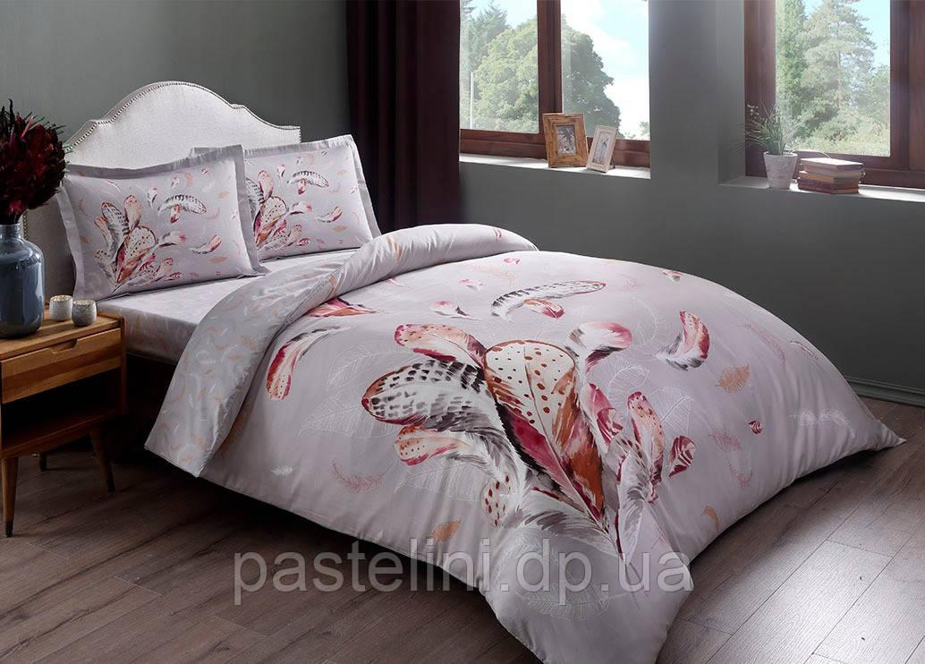 TAC Ratna gri сатин семейный комплект постельного белья