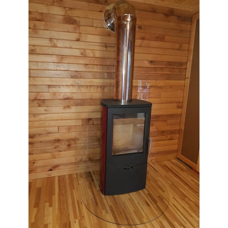 Отопительная печь камин на дровах с водяным контуром Thorma Falun 2 Aqua Бордовая