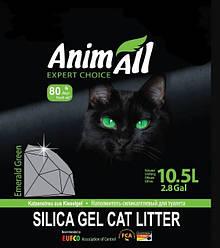Наповнювач туалетів для кішок AnimAll Emerald Green силікагель Зелений смарагд 10.5 л