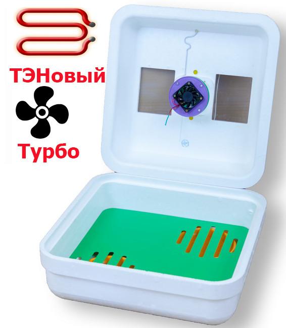 Інкубатор Рябушка Турбо 70 яєць вентилятор, цифровий, ручної переворот