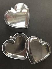 Прозрачный подвесной сердце 8 см