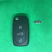 Корпус выкидного авто ключа для Audi A4, A6, A8 (Ауди A4, A6, A8) 3  кнопки, лезвие HU66