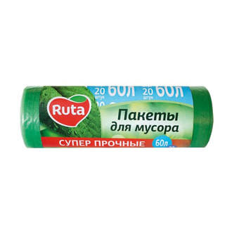 """Пакети для сміття зелені """"Ruta""""60л."""