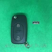 Корпус выкидного авто ключа для Audi A1, A2, A3, A4, TT (Ауді A1, A2, A3, A4, TT) 2 кнопки, лезо HU66