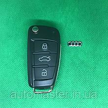 Корпус выкидного авто ключа для Audi А1, А3, А4, А6, Q7 (Ауди А1, А3, А4, А6, Q7) 3 кнопки, Лезвие HU66