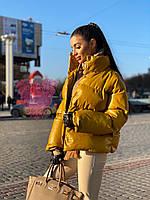 Стильная куртка пуховик из эко-кожи, цвет горчица