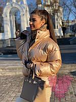 Стильная куртка пуховик из эко-кожи,цвет песочный