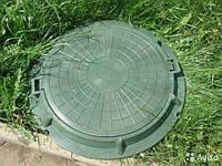 Люк полимерпесчаный канализационный легкий,зеленый с з/у