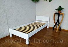 """Біла односпальне ліжко з масиву дерева """"Економ"""" від виробника"""