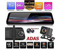 Зеркало-видеорегистратор Anytek T12, экран 10 дюймов, FULL HD, две камеры, фото 1