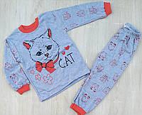 """Детская пижама для девочки """"Cat"""" 4-6 лет, голубая с красным"""