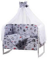 Наборы постельного белья с балдахином (8 предметов). Совы с зонтиком, серый.