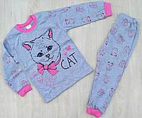 """Детская пижама для девочки """"Cat"""" 4-6 лет, голубая с малиновым"""