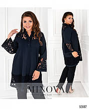 Блуза жіноча подовжена з мереживом