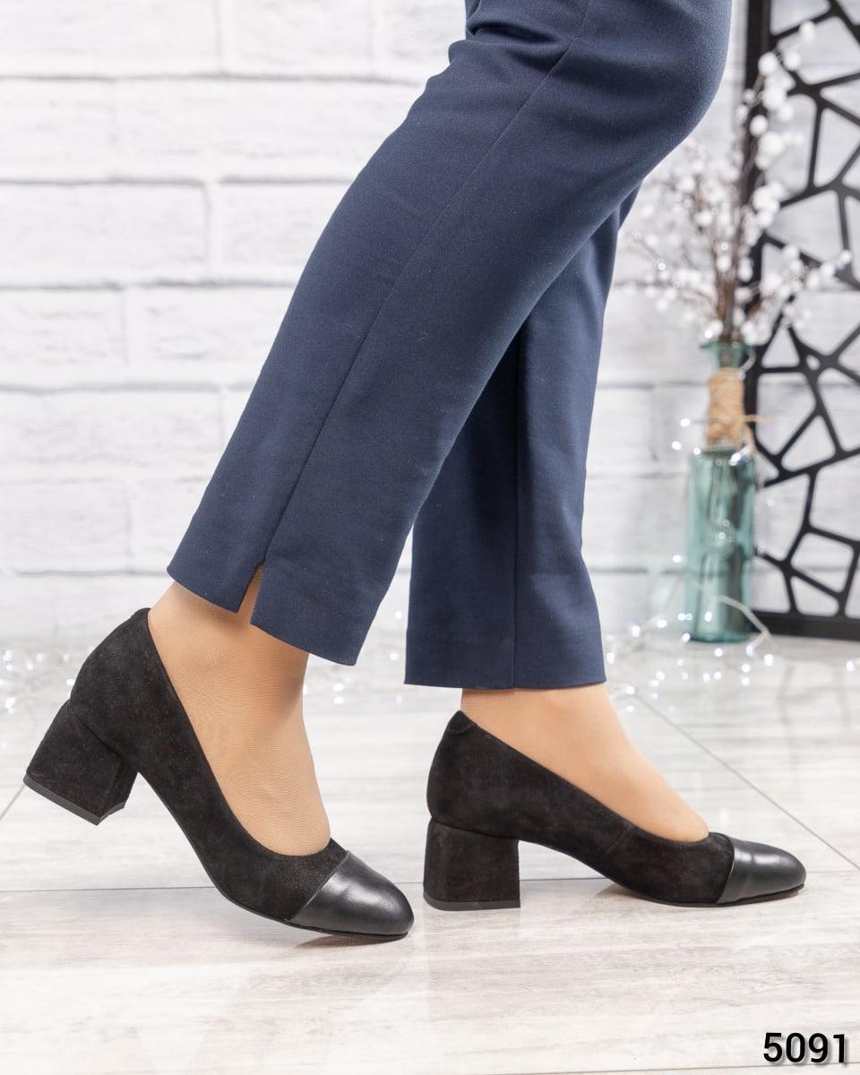 Туфли на среднем каблуке замша/кожа,  Размер 36 на 24 см