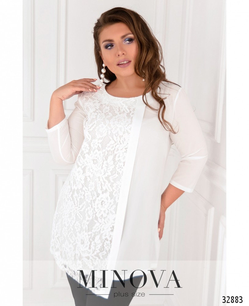 Блуза жіноча з софту та кружева