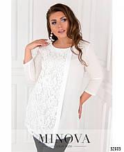 Блуза жіноча з софту та мережива білий, 52