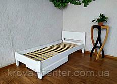 """Біла односпальне ліжко з висувним ящиком """"Економ"""" від виробника"""