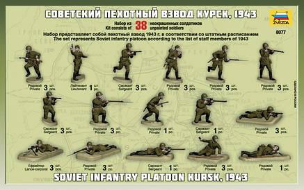 Советский пехотный взвод. Курск 1943.  Набор пластиковых солдатиков в масштабе 1/72. ZVEZDA 8077, фото 2