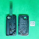Корпус выкидного ключа для Citroen C1, C2, С3, С4,Berlingo (Ситроен Берлинго) 2 - кнопки батарейка на корпусе, фото 2