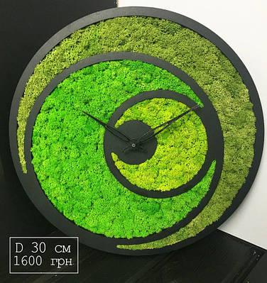 Часы настенные с мхом диаметр 30 см